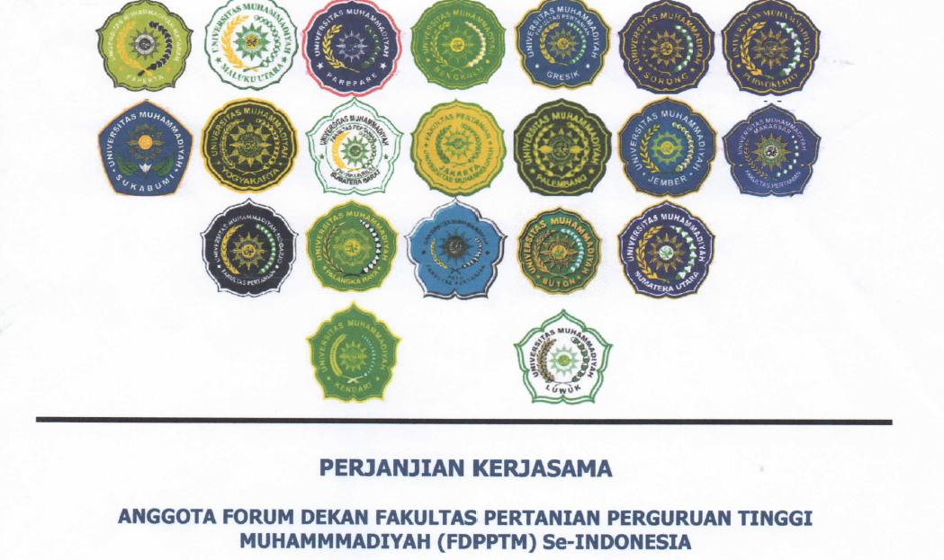 Perjanjian Kerjasama Anggota Forum Dekan Fakultas Pertanian Perguruan Tinggi Muhammadiyah Se-Indonesia