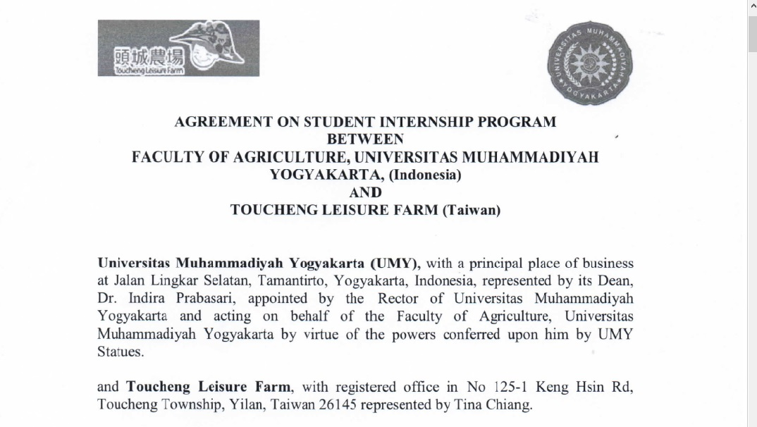 FP UMY Signing MoU With Toucheng Leisure Farm (Taiwan)